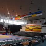 Рекламное оформление сцены Дворца Зрелищ и Спорта